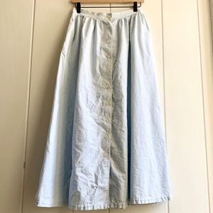 Vintage 1990s Chambray Button Front Maxi Skirt